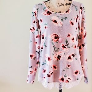 LC floral sweater blouse